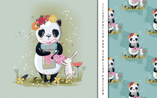 Cute little panda illustration for kids