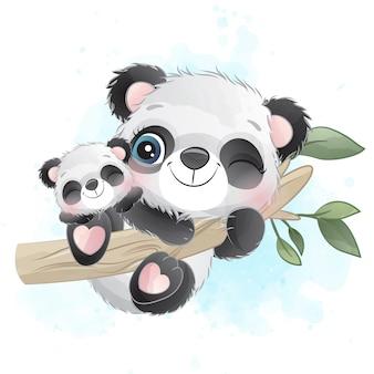 かわいいパンダの母親と赤ちゃんが木にぶら下がっています。