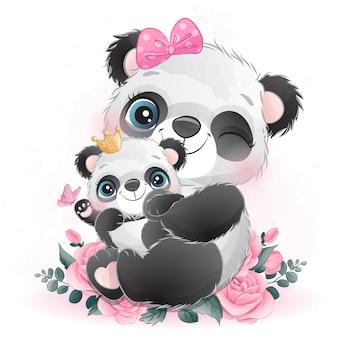 Милая маленькая панда мама и малыш