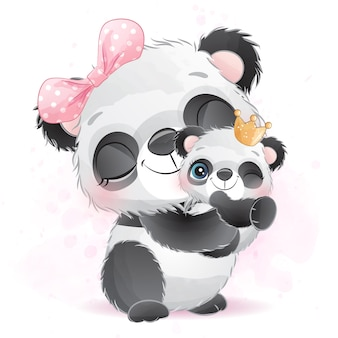 Cute little panda mother and baby