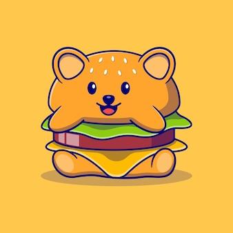 Симпатичная маленькая панда в форме гамбургера, маска персонажа, векторная иллюстрация дизайн