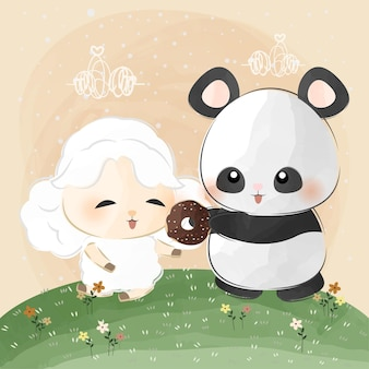 Cute little panda and sheep love