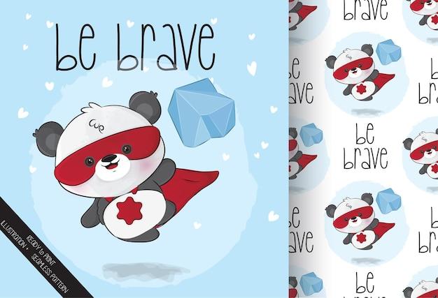 Симпатичный маленький персонаж супергероев панды с бесшовным рисунком