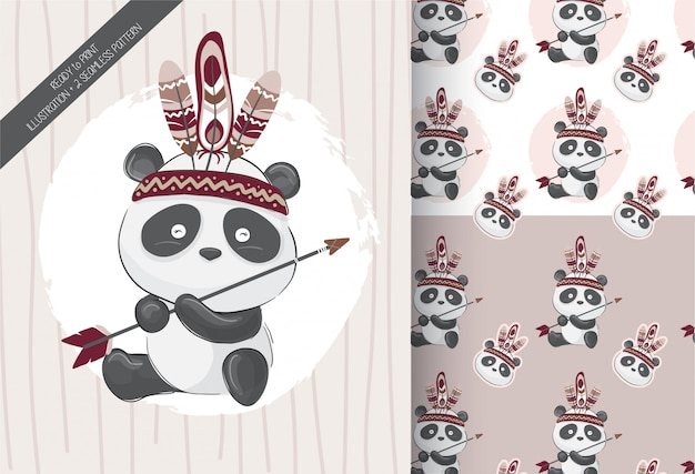 Cute little panda tribal with seamless pattern