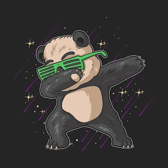 Cute little panda with green glasses dabbing illustration on black background with stars