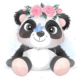Cute little panda with watercolor effect