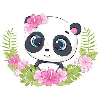 Милая маленькая панда с венком из цветов гавайи