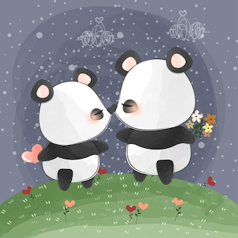 Cute little pandas kissing