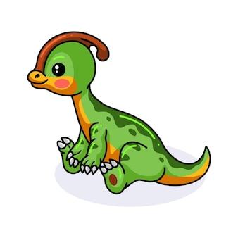Милый маленький динозавр паразавролоф сидит