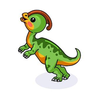 Милый маленький паразавролоф динозавр мультфильм стоя