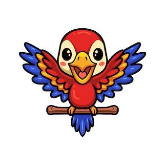 Милый маленький мультфильм попугай на ветке дерева
