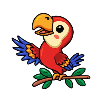 Cute little parrot cartoon on tree branch