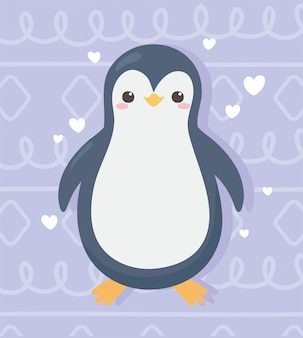 Cute little penguin cartoon hearts love adorable vector illustration
