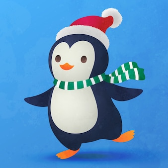 クリスマスの装飾のためのかわいい小さなペンギンフラット漫画