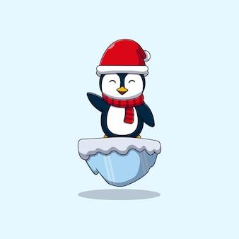 雪氷の上に立っているかわいい小さなペンギンベクトルイラストデザイン