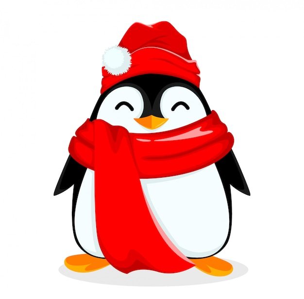 Cute little penguin wearing warm hat and scarf