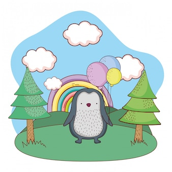 Cute little penguin with balloons helium in the field
