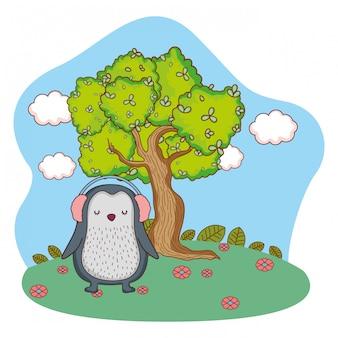 Cute little penguin with earphones in the park