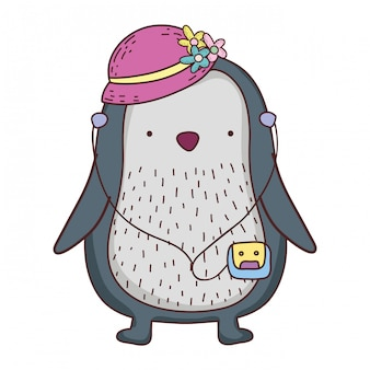 Cute little penguin with female hat and walkman