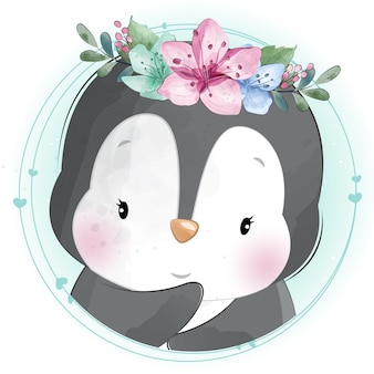 Cute little penguin with floral portrait