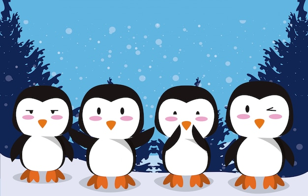 Cute little penguins characters in the snow