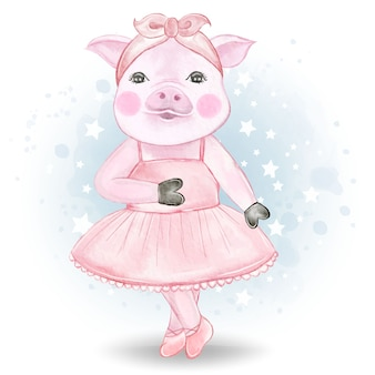 Cute little pig ballerina watercolor illustration