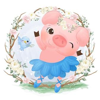 수채화에서 그림을 춤 귀여운 작은 돼지
