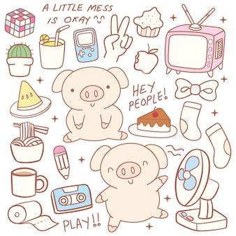 Cute little pig doodle