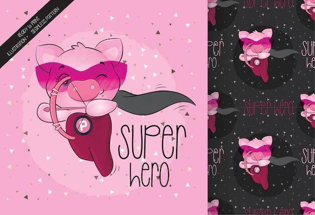ピンクの矢印とシームレスなパターンを持つかわいい子豚のヒーロー キャラクター