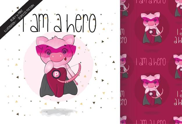 ピンクの矢印が付いたかわいい子豚のヒーローキャラクター