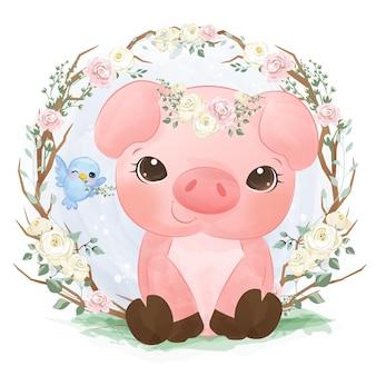 수채화에 귀여운 작은 돼지 그림