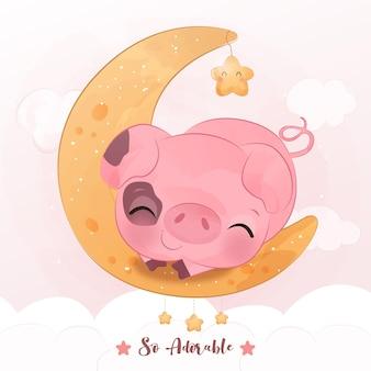 수채화 lllustration에서 달을 가지고 노는 귀여운 작은 돼지