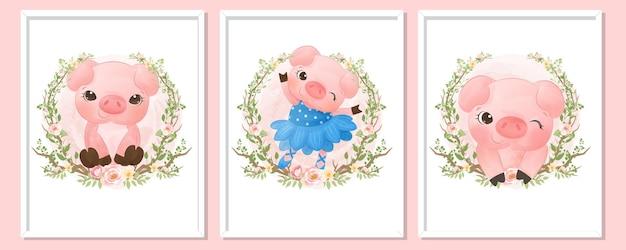 귀여운 작은 돼지 초상화 그림 세트
