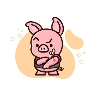 Милая маленькая свинья показывает свою татуировку на руке.