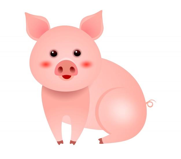 Piccolo maiale sveglio che si siede sull'illustrazione bianca della priorità bassa