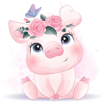 Cute little pig with watercolor effect