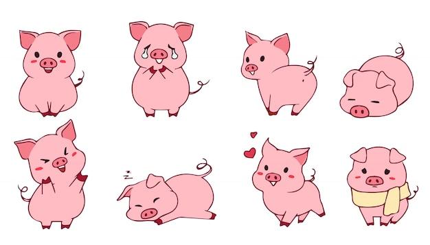 귀여운 작은 돼지 세트. 손으로 그린 그림입니다. 재미있는 이모티콘. 흰 배경에 고립.