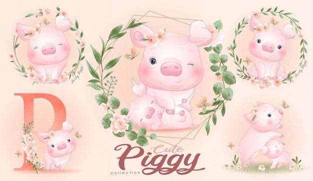 Cute little piggy with watercolor illustration set