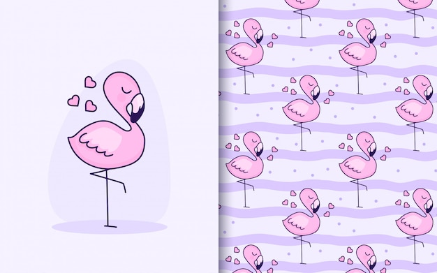 Cute little pink flamingo with hearts