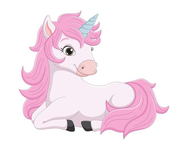 Милый маленький розовый единорог мультфильм