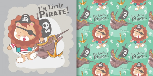 Cute little pirate lion and seamless pattern set