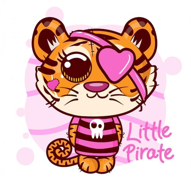 Милый маленький мультфильм пиратский тигр. вектор