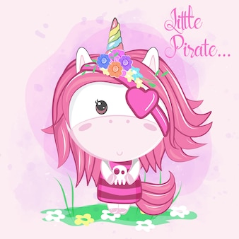 Cute little pirate unicorn on pink background