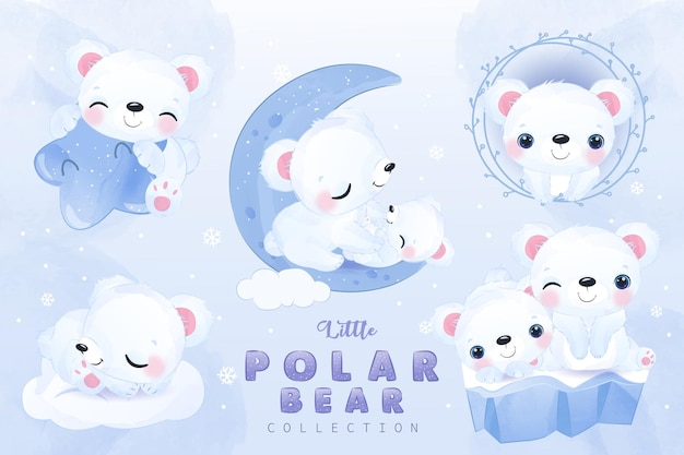 Cute little polar bear clipart collection in watercolor illustration
