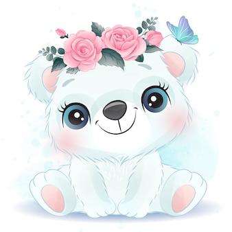 Cute little polar bear portrait with watercolor effect