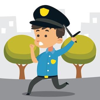 Cute little police officer running