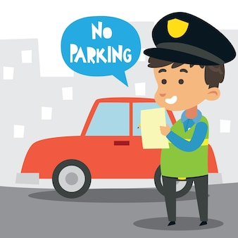 Cute little police officer writing a no parking note