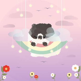 Cute little pomeranian puppy hanging on rainbow