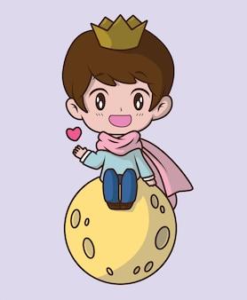 Cute little prince hug the heart., fairy tale cartoon concept.