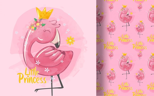 Cute little princess flamingo   pattern. illustration for kids